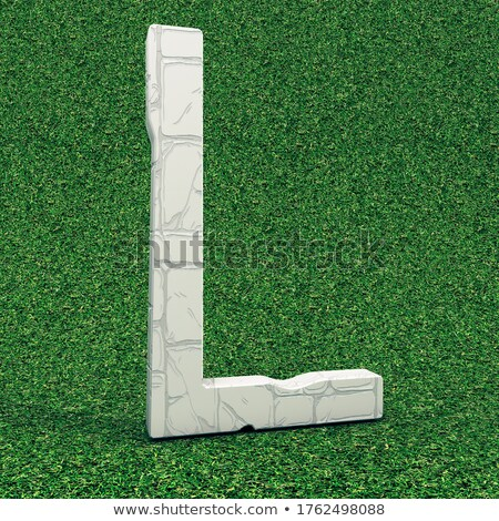 galvanized metal font letter l in grass 3d stock photo © djmilic