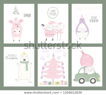 Smart Phone With Cute Santa Vector. Merry Christmas And Happy New Year. Shopping Sale Concept. Isola Stock photo © pikepicture