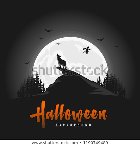 Halloween with howling wolf and bats, vector Stock photo © beaubelle