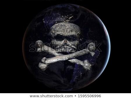 Terra crânio cabeça esqueleto planeta continentes Foto stock © popaukropa