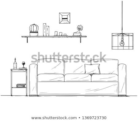 esboço · interior · tabela · prateleira · lata - foto stock © Arkadivna
