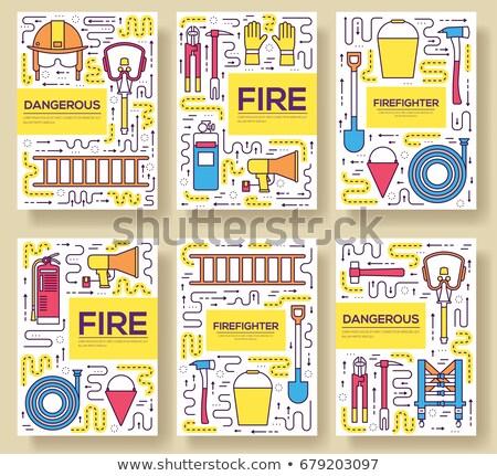 Flat firefighter uniform vector brochure cards thin line set. first help template of flyear, magazin Stock photo © Linetale