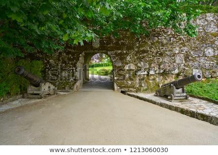 Park galicië Spanje boog muur bomen Stockfoto © lunamarina