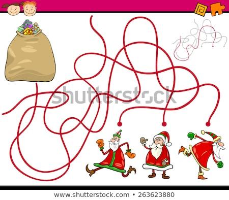 lines maze game with Christmas Santa characters Stock photo © izakowski