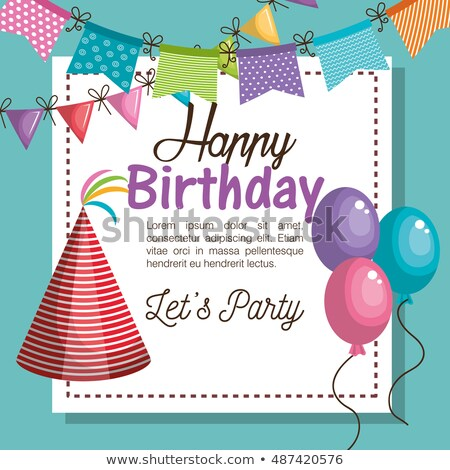 Happy Birthday Card with Red Cone Festive Hat Stock photo © robuart