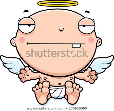 Desenho animado bebê anjo entediado ilustração monstro Foto stock © cthoman