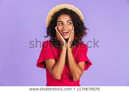 возбужденный довольно африканских женщину изолированный Сток-фото © deandrobot