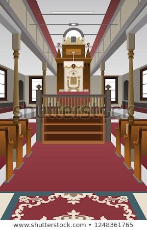 интерьер синагога иллюстрация поклонения службе молитвы Сток-фото © artisticco