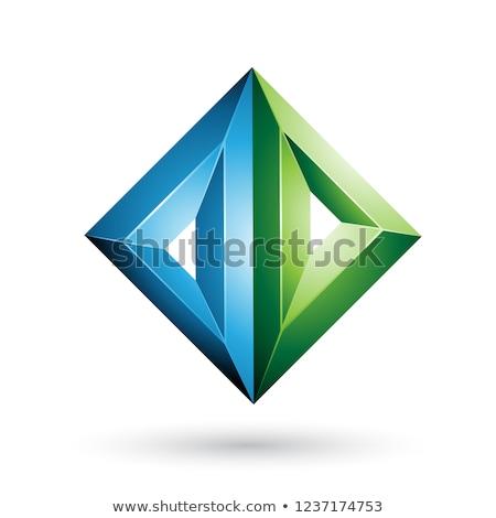 blue and green 3d geometrical embossed diamond shape vector illu stock photo © cidepix