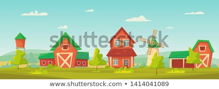 Scene with red windmill on the farm Stock photo © colematt