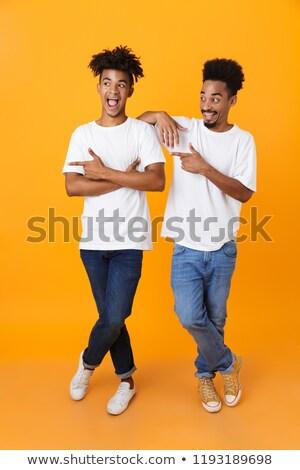 два возбужденный мужчины африканских друзей Сток-фото © deandrobot