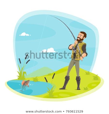 Pêche homme poissons tige affiche Photo stock © robuart