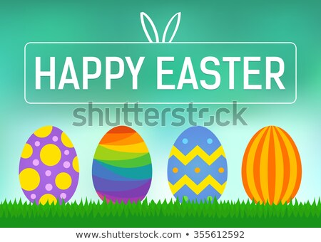 happy easter poster with bunny and rainbow stock photo © colematt