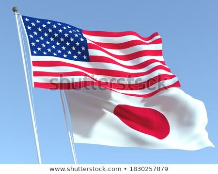Deux drapeaux États-Unis Japon isolé Photo stock © MikhailMishchenko