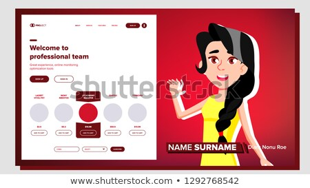 Self Presentation Vector. Caucasian Feamle. Introduce Yourself Or Your Project, Business. Illustrati Stock photo © pikepicture