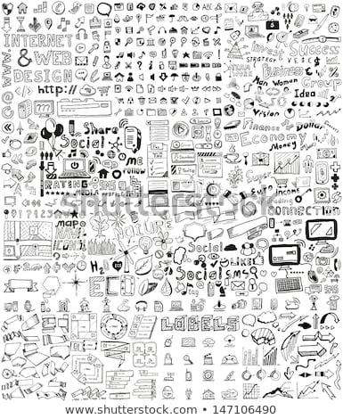 media hand drawn sketch icon set stock photo © rastudio