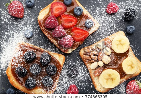 toasts with chocolate and fruits stock photo © agfoto
