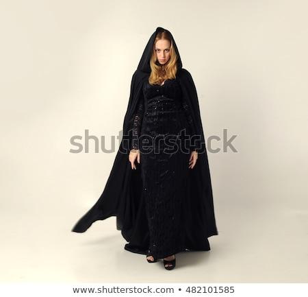 испуганный · женщину · фартук · метлой - Сток-фото © deandrobot