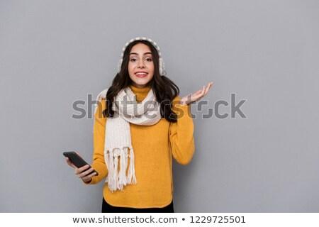 肖像 楽しい 女性 着用 耳 スカーフ ストックフォト © deandrobot
