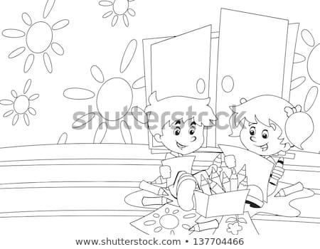 onderwijs · spel · kleurboek · zwart · wit · cartoon · illustratie - stockfoto © izakowski