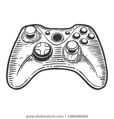Joystick dessinés à la main doodle icône contrôleur de jeu Photo stock © RAStudio