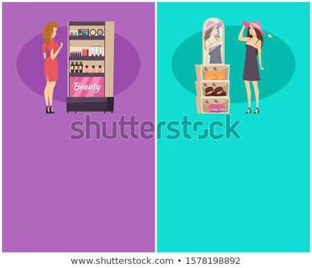 Shopping Woman Choosing Cosmetics, Trying New Hat Stock photo © robuart