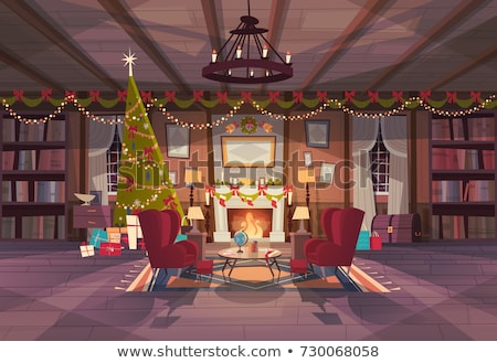 Merry Christmas at Home near Fireplace Vector Stock photo © robuart