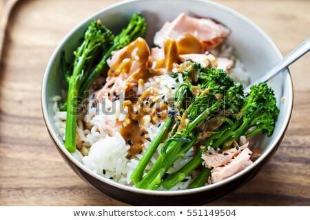 finom · étel · lazac · brokkoli · hagymák · közelkép - stock fotó © tycoon