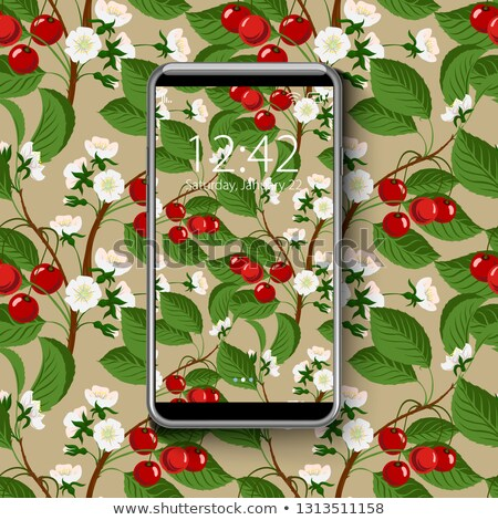 Smartphone with colorful wallpaper, of seamless cherry blossom tree pattern, vector illustration. Stock photo © ikopylov