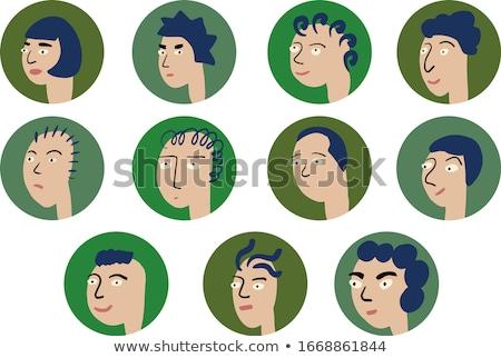 вьющиеся · волосы · брюнетка · девушки · характер · иллюстрация · фон - Сток-фото © bluering