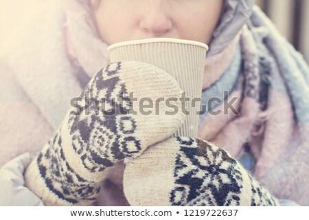 Kız eldiveni cam şarap örgü Stok fotoğraf © furmanphoto