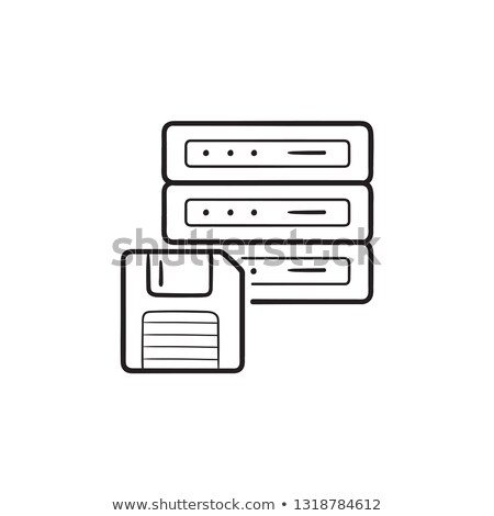 Server with floppy disk hand drawn outline doodle icon. Stock photo © RAStudio