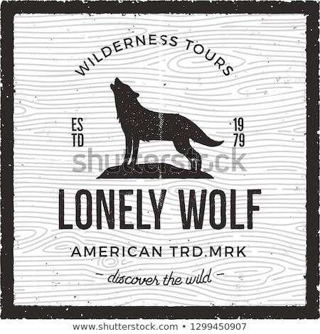 vintage adventure card   lonely wolf quote wilderness tours american heritage logo retro hand dra stock photo © jeksongraphics