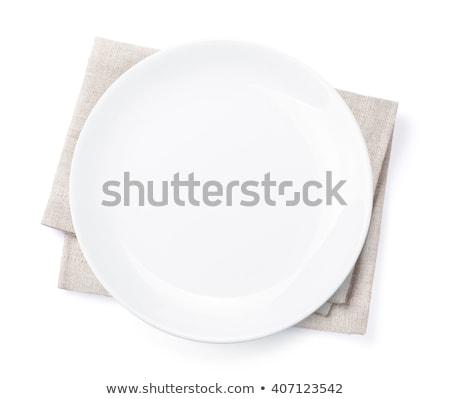 üres · tányér · konyhaasztal · étel · főzés · sablon - stock fotó © karandaev