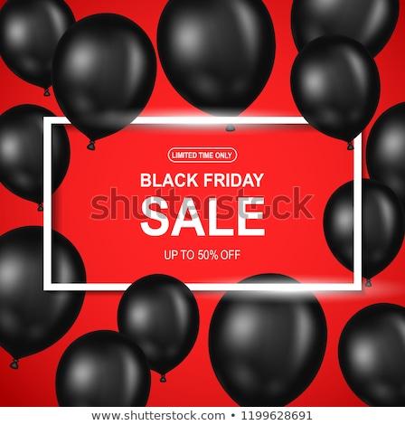 Verkoop promo label zwarte ballon icon Stockfoto © robuart