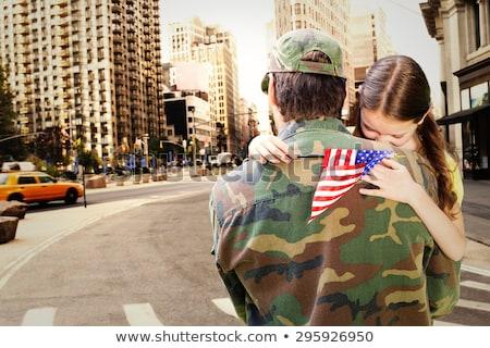 Soldado bandeira homem azul estrela Foto stock © AndreyPopov