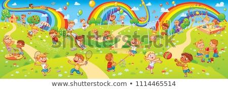 Dizayn oynayan çocuklar slayt örnek kız Stok fotoğraf © colematt