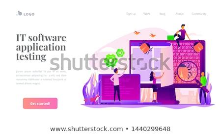 Stock fotó: Szoftver · tesztelés · emberek · bogarak · laptop · képernyő