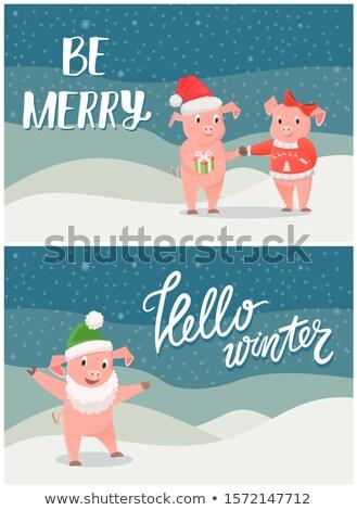Stock fotó: Hello · tél · karácsony · kívánságok · fiú · lány