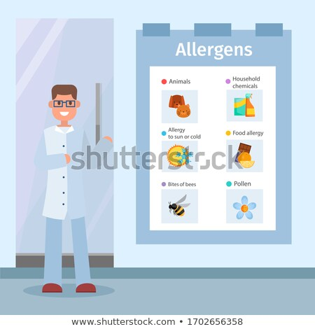 food allergens vector posters with icons and doctor stock photo © robuart