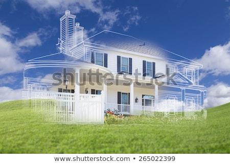 Güzel ev çizim üzerinde yeşil Stok fotoğraf © feverpitch