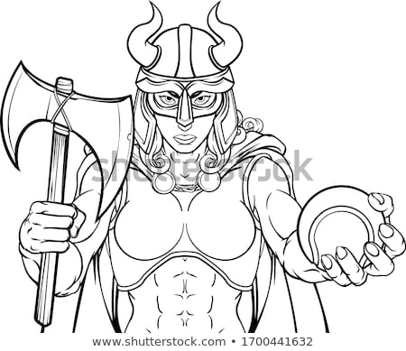 viking female gladiator tennis warrior woman stock photo © krisdog