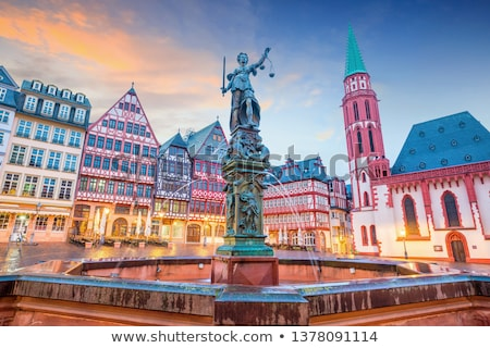 Frankfurt nacht huis stad Blauw reizen Stockfoto © benkrut