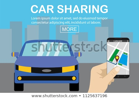 hand with smartphone and car sharing icons stock photo © dolgachov