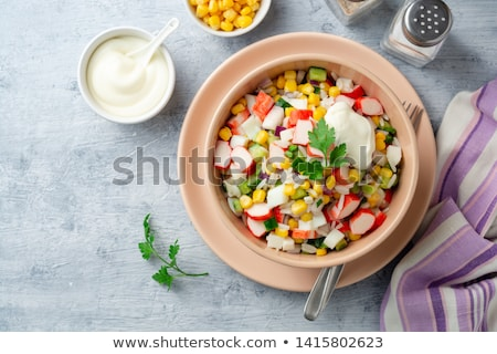 Crab salad with eggs, sweet corn and mayonnaise Stock photo © Melnyk