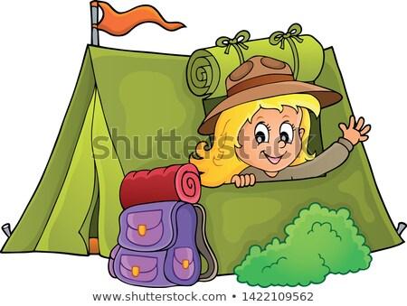 スカウト 少女 テント 幸せ 袋 人 ストックフォト © clairev