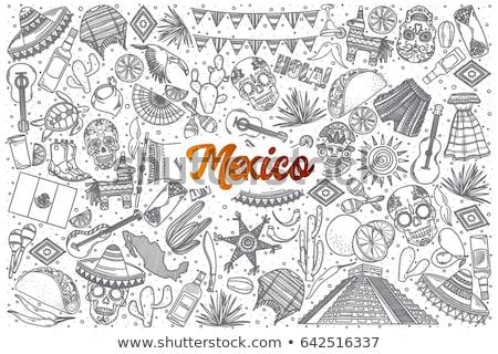 hand drawn doodle mexico set stock photo © netkov1