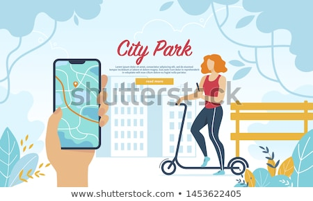 Scooter Riding in City Park Vector Illustration Stock photo © robuart