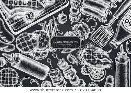 ストックフォト: 鮭 · ステーキ · モノクロ · 手描き · 実例 · ベクトル