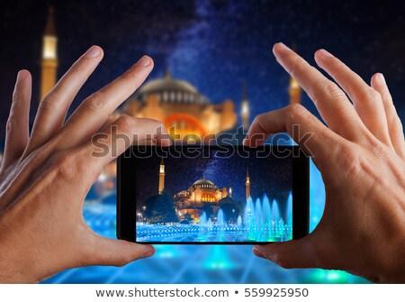 Stok fotoğraf: Turist · fotoğrafları · binalar · vektör